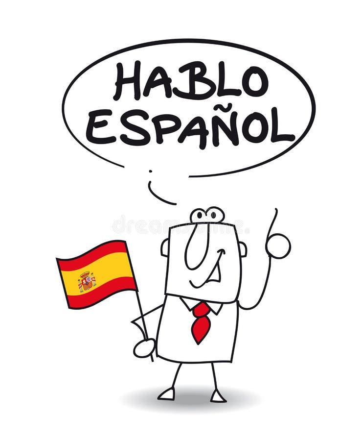 Eu falo o espanhol ilustração stock