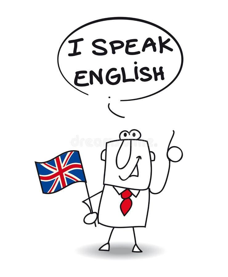 Eu falo o inglês ilustração royalty free