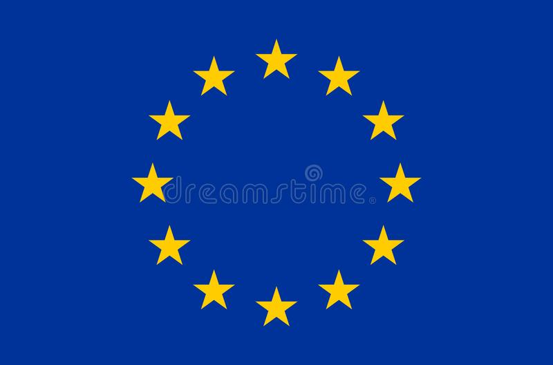 Eu flag in accurate colors, official flag of european union in exact colorss. Eu flag in accurate colors, official flag of european union in exact colors, real royalty free illustration