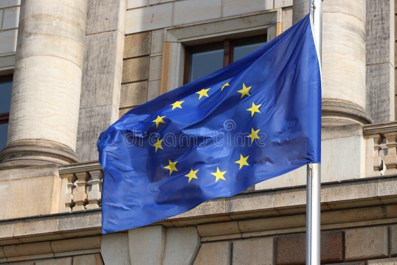 EU flag. European Union flag in the wind. EU flag in Germany stock photography