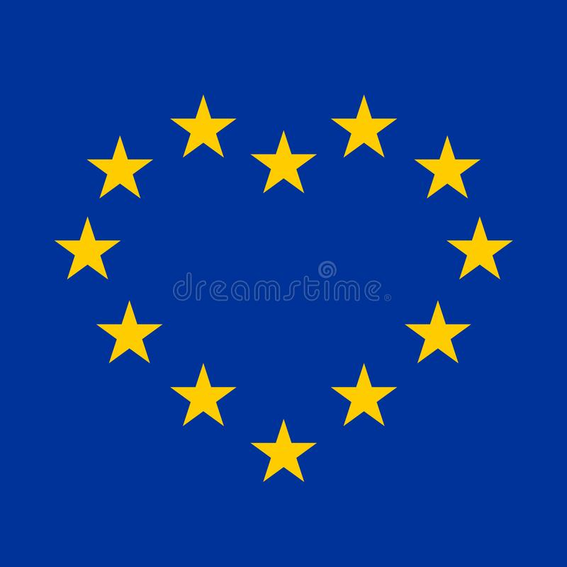 EU flag with yellow stars in a shape of heart vector illustration