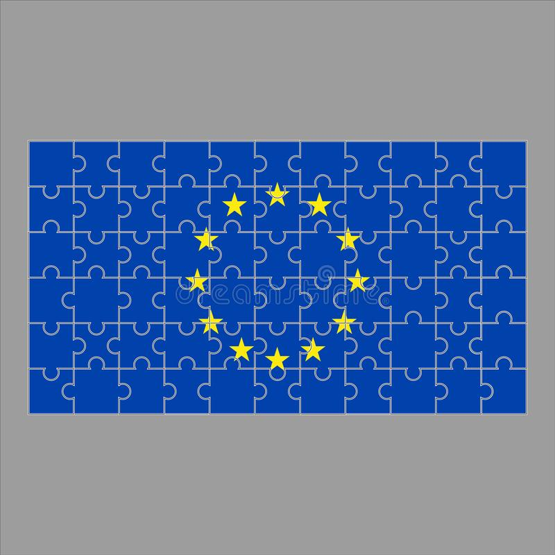 EU-flagga från pussel på en grå bakgrund vektor illustrationer