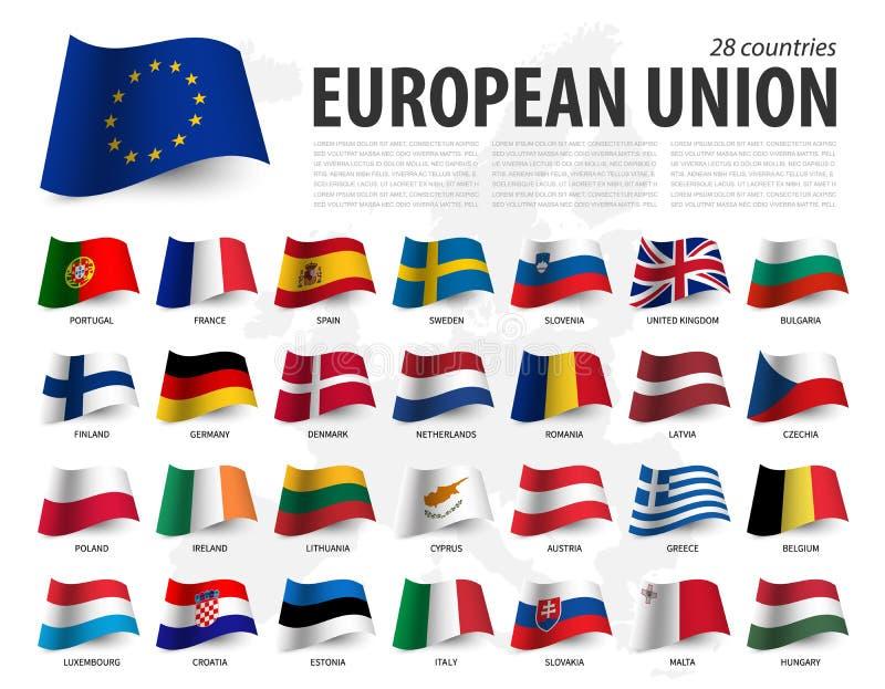 EU Flagge der Europäischen Gemeinschaft und Mitgliedschaft auf Europa-Kartenhintergrund Wellenartig bewegender Flaggenentwurf Vek vektor abbildung