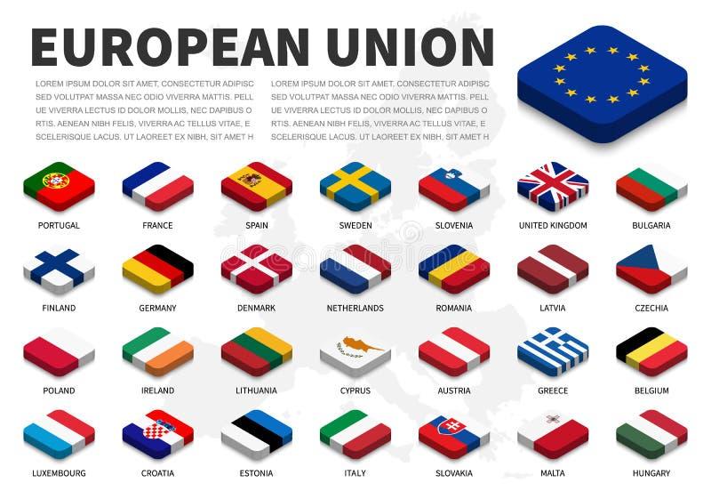 EU-Flagge und -mitgliedschaft der Europäischen Gemeinschaft auf Europa-Kartenhintergrund isometrischer Spitzenentwurf Vektor vektor abbildung