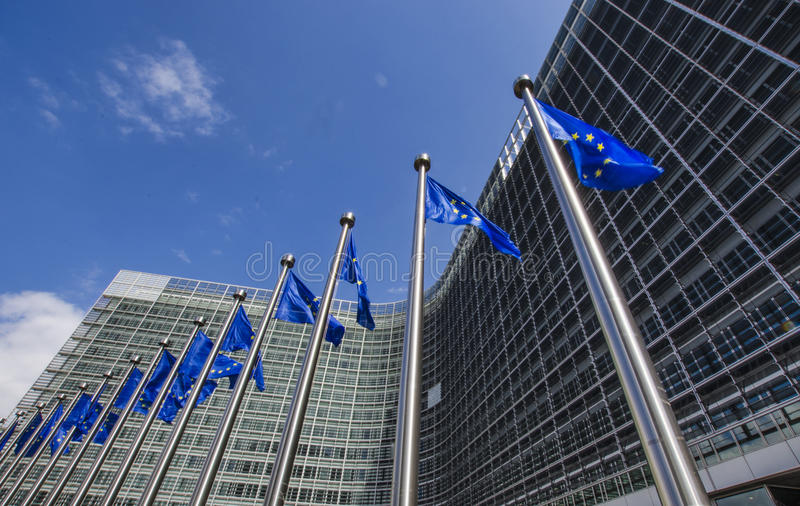 EU flags stock images
