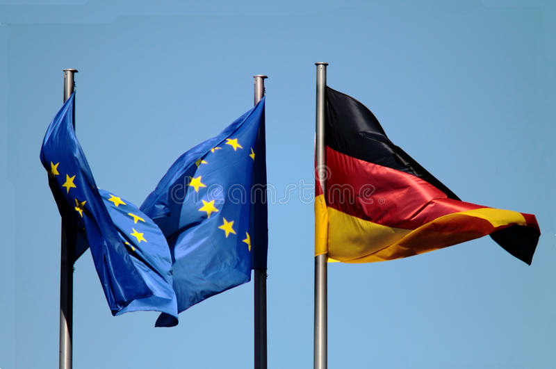 EU And Germany Flags Royalty Free Stock Photo
