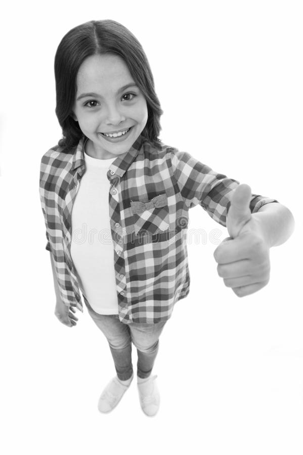 Eu gosto d Cabelo encaracolado longo da menina da crian?a que levanta seguramente A cara de sorriso da menina sente segura Crian? foto de stock royalty free