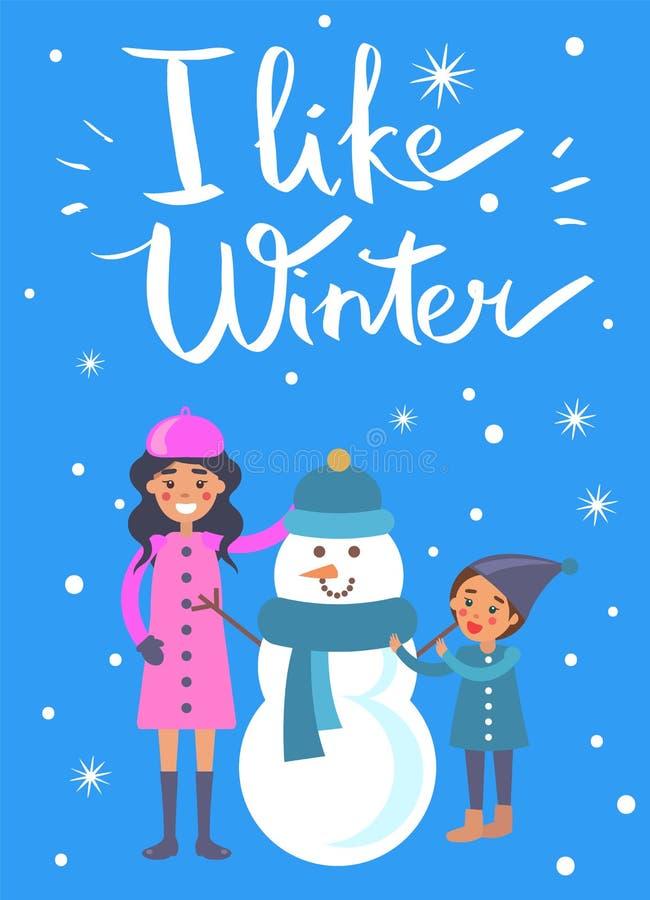 Eu gosto da criança da mãe do cartaz do inverno que faz o boneco de neve ilustração stock