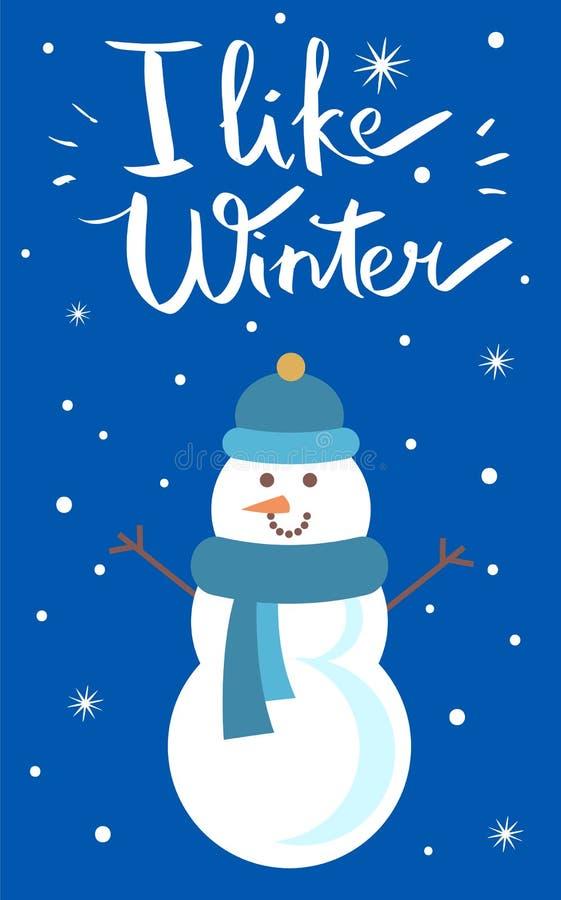 Eu gosto da ilustração do vetor do cartaz do boneco de neve do inverno ilustração royalty free