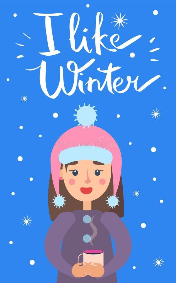 Eu gosto da ilustração do vetor dos flocos de neve da menina do inverno ilustração do vetor