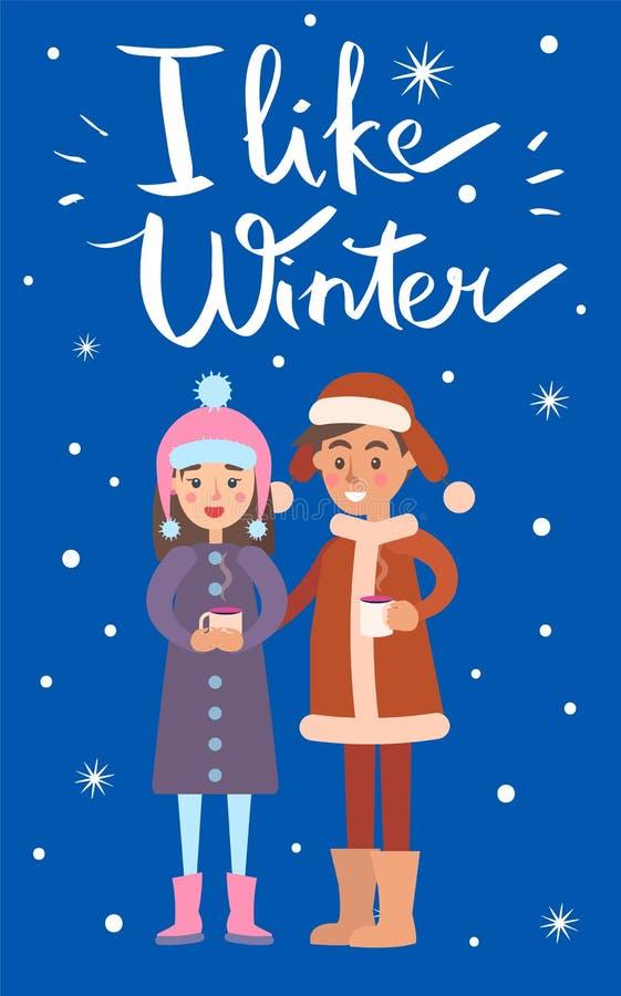 Eu gosto da ilustração do vetor do menino e da menina do inverno ilustração royalty free