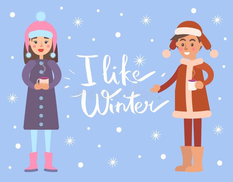 Eu gosto de flocos de neve do inverno, ilustração do vetor ilustração do vetor