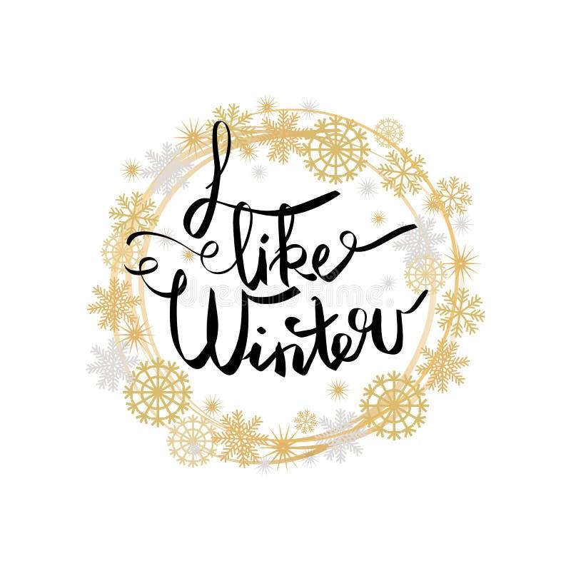 Eu gosto do cartaz do inverno no quadro feito dos flocos de neve ilustração stock