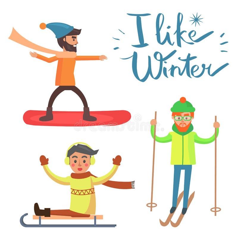 Eu gosto do inverno, ilustração do vetor das atividades ilustração royalty free
