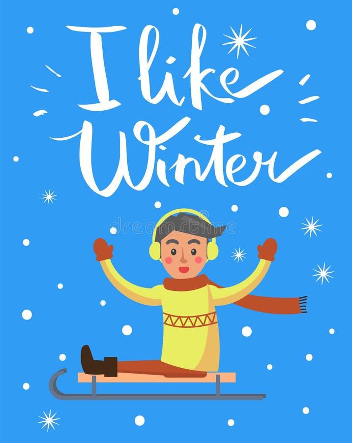 Eu gosto do menino do inverno na ilustração do vetor do trenó ilustração royalty free