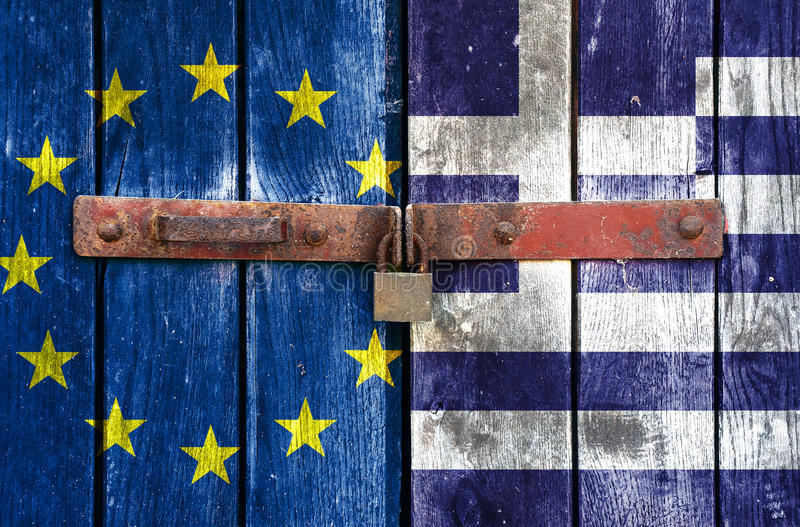 EU and Greek flag with padlock royalty free stock images
