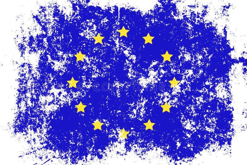 EU grunge för europeisk union, gammal skrapad stilflagga stock illustrationer