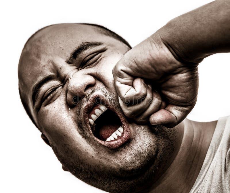 Eu homem da cabeça calva obtive o perfurador na cara no fundo isolado imagem de stock royalty free