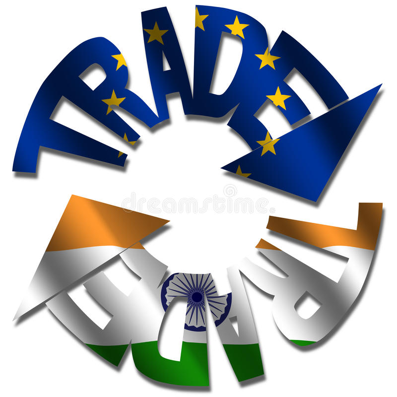 EU Indian trade. Trade text arrows with EU and Indian flags illustration vector illustration