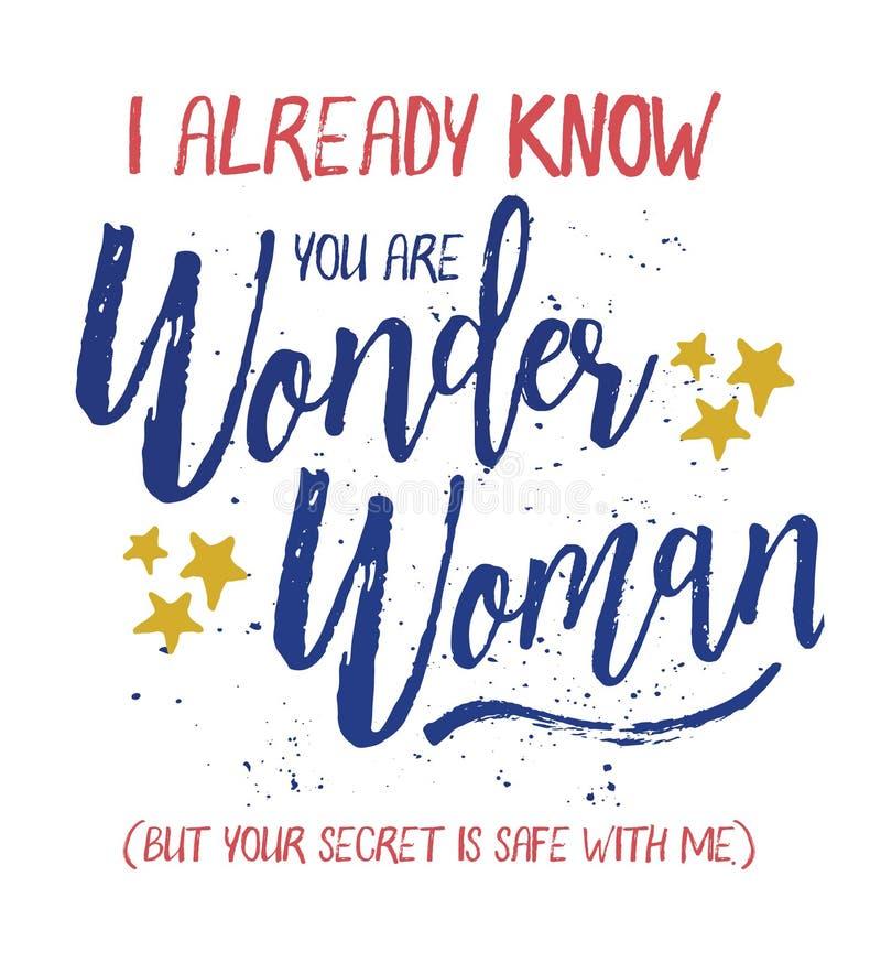 Eu já sei que você é mulher maravilha ilustração royalty free