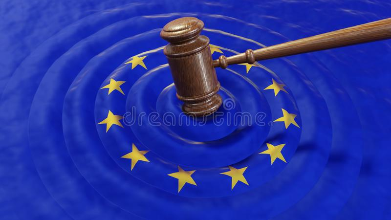 EU judge hammer sentencing European Union fine. Judge hammer or gavel hitting EU flag. Concept of law, GDPR breach, tax fraud, monetary penalty, corruption royalty free stock images
