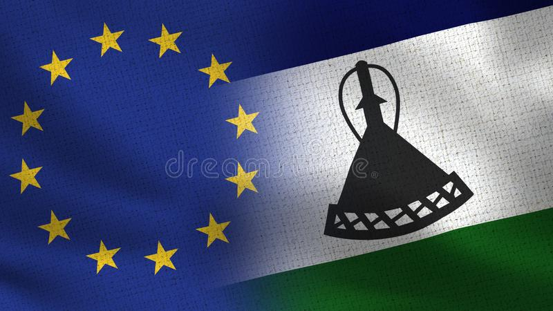 EU and Lesotho Realistic Half Flags Together - European Union royalty free illustration