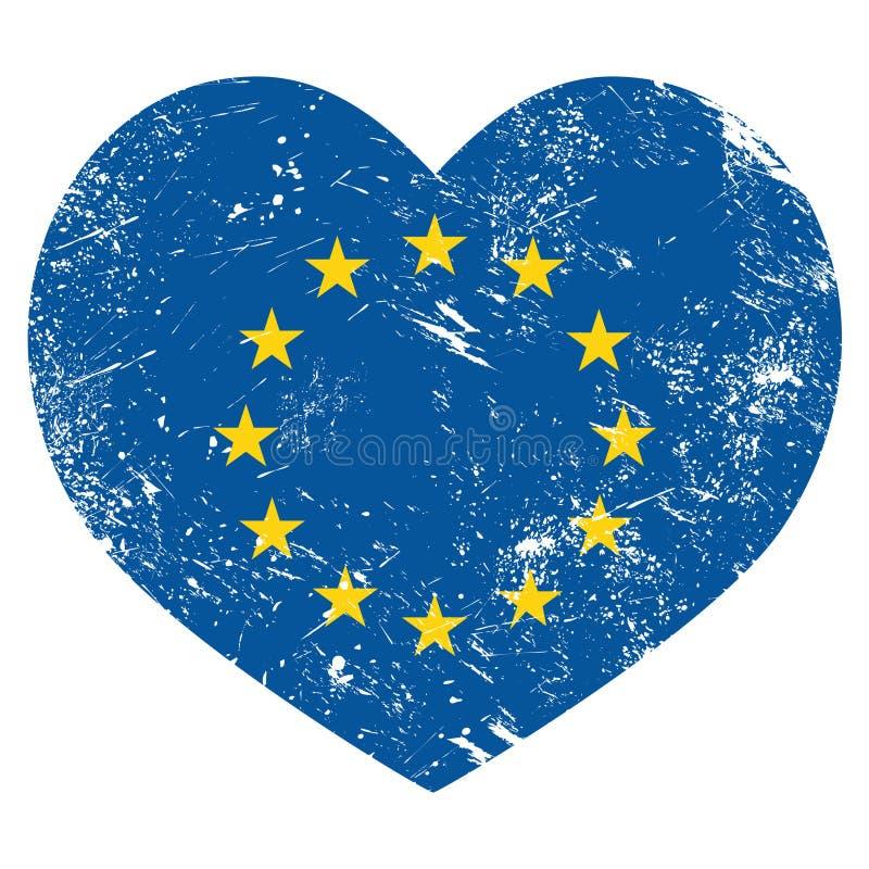 EU, liebe ich Retro- Flagge des Herzens der Europäischen Gemeinschaft lizenzfreie abbildung