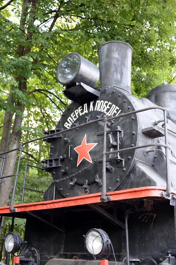 EU-680 - lokomotiv för ånga 96 i museet av militär utrustning på den Poklonnaya kullen i Moskva arkivbilder