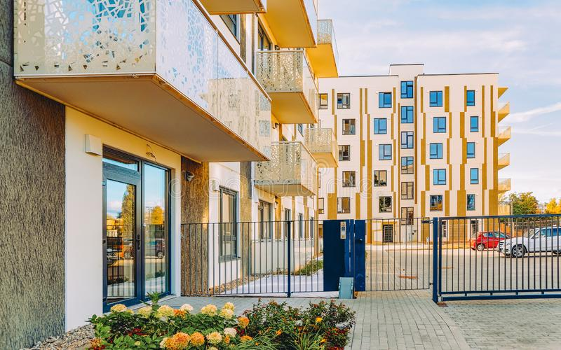 EU Modern residential apartment house building and entrance gate stock photography