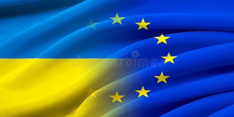 EU och Ukraina vektor illustrationer