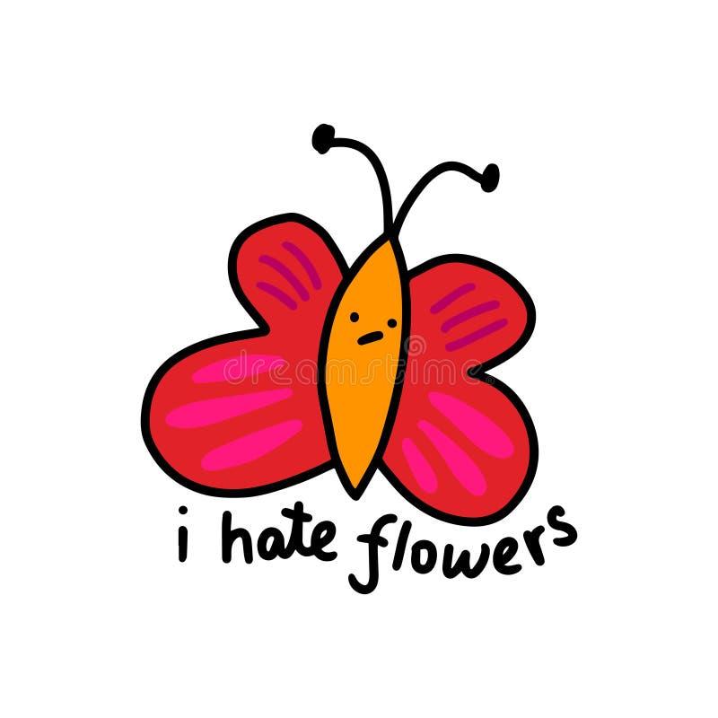 Eu odeio flores entrego a ilustração tirada do vetor no estilo dos desenhos animados Laranja cor-de-rosa ilustração do vetor