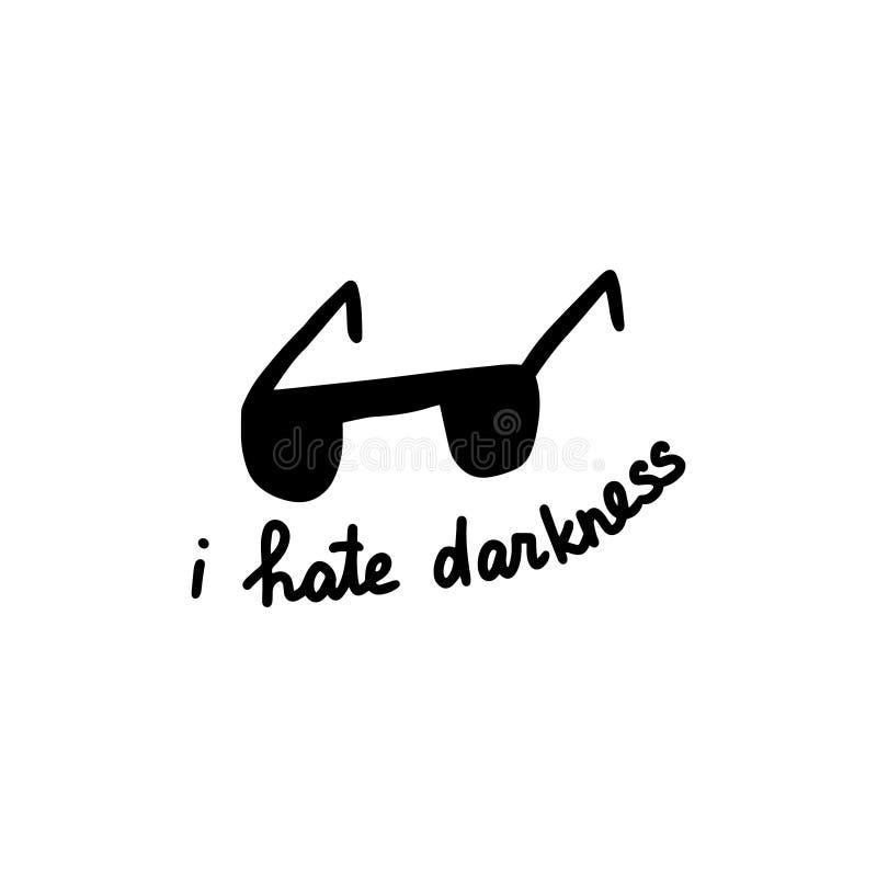 Eu odeio a ilustração tirada mão da escuridão no estilo dos desenhos animados Vidros com rotulação ilustração royalty free