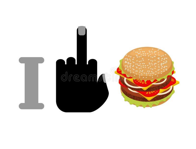 Eu odeio o Hamburger Foda e hamburguer logotipo para o alimento saudável Agains ilustração do vetor