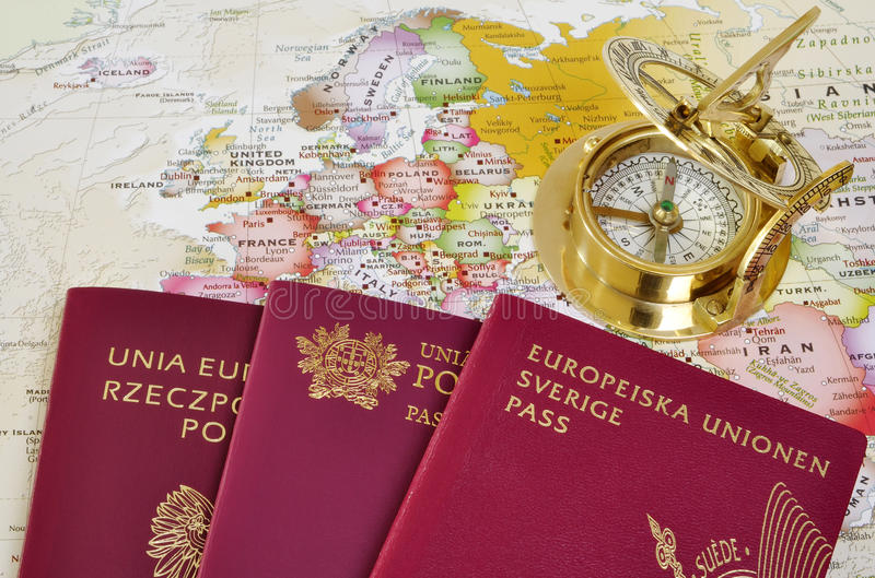 Download EU passports on a map stock photo. Image of direction - 21467058