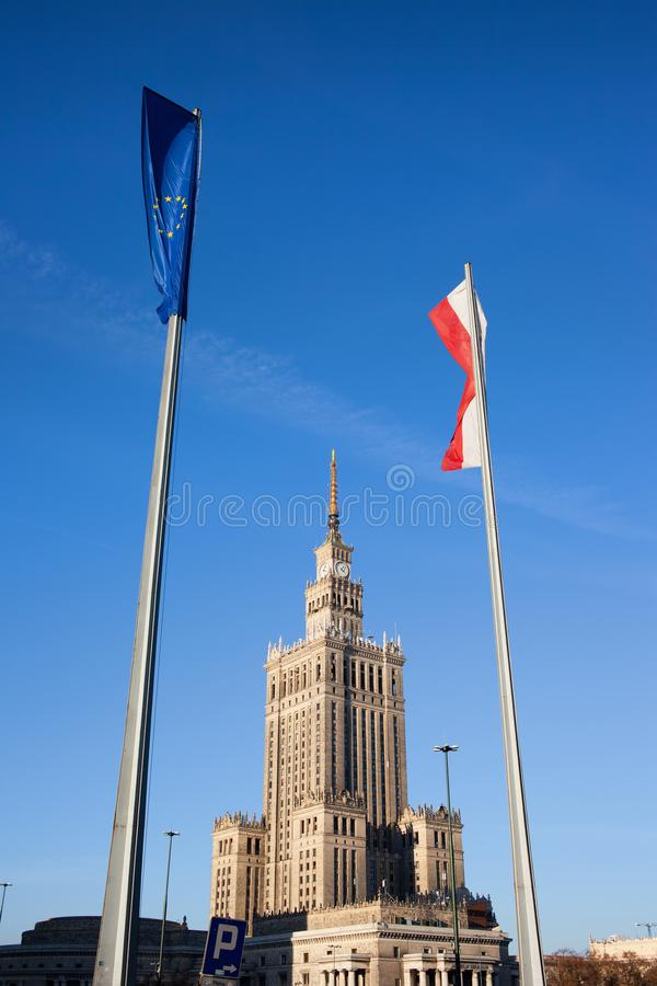 EU and Poland Flags in Warsaw stock photo