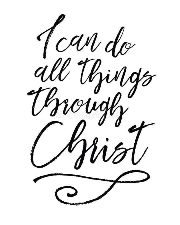 Eu posso fazer todas as coisas através de Cristo ilustração stock