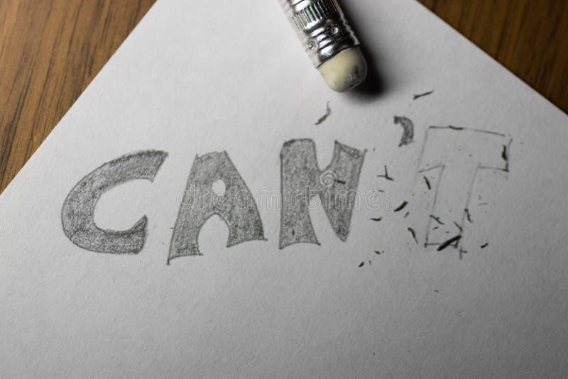 Eu posso o ` t, escrito no lápis com o t apagado fotografia de stock royalty free
