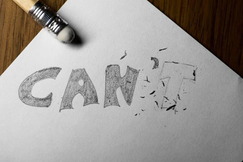 Eu posso o ` t, escrito no lápis com o t apagado fotos de stock royalty free