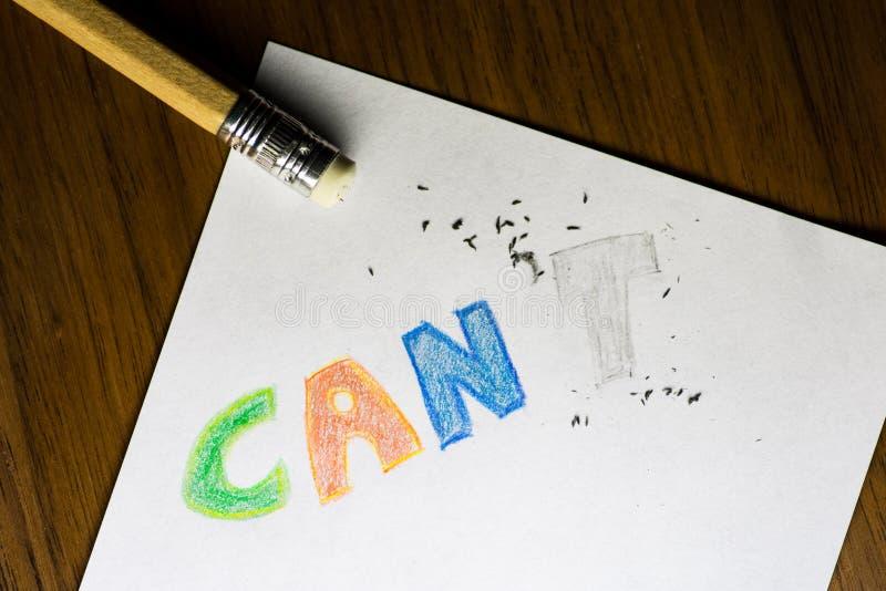 Eu posso o ` t, escrito no lápis com o t apagado imagens de stock royalty free