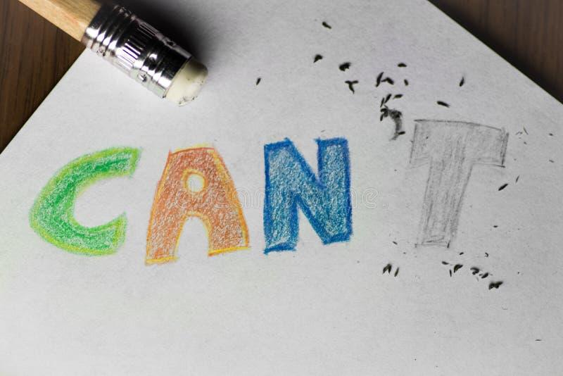 Eu posso o ` t, escrito no lápis com o t apagado foto de stock royalty free