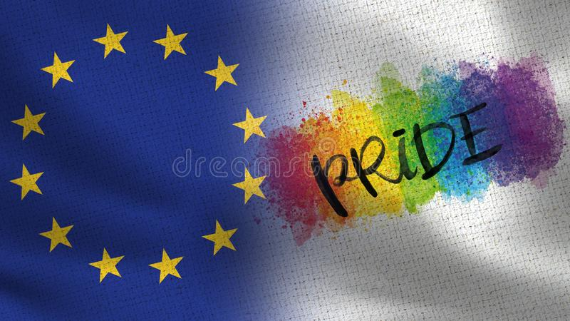 EU and Pride Day Realistic Half Flags Together. European Union - High Resolution royalty free stock photography