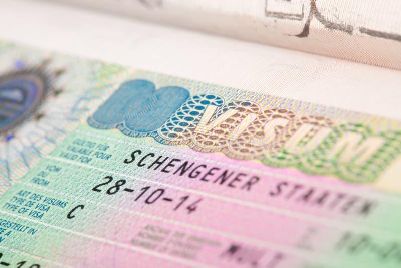 EU Schengen zone visa in passport - close up shot stock image