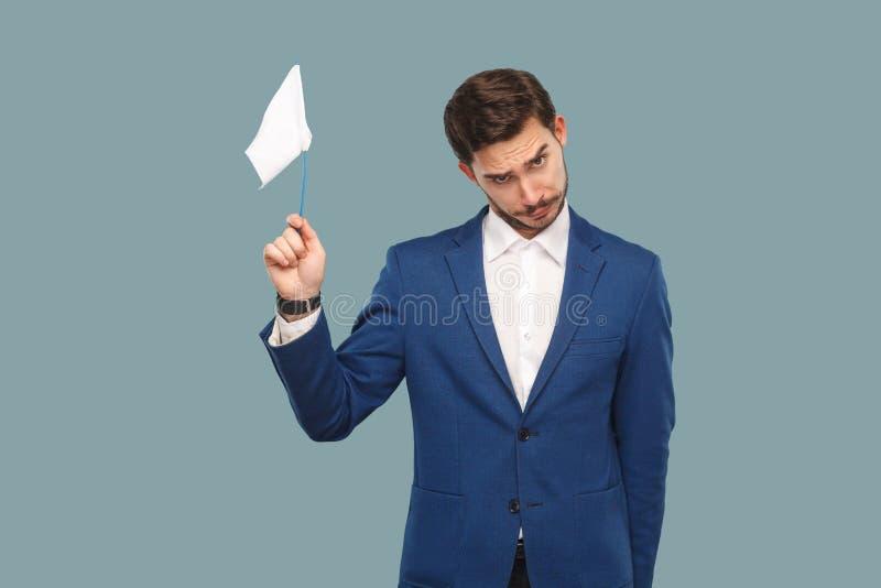Eu sou dou acima homem de negócios triste da falha no casaco azul e em s branco imagem de stock royalty free