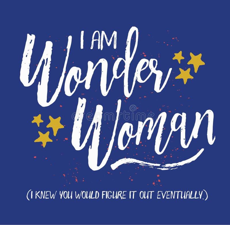 Eu sou mulher maravilha ilustração stock