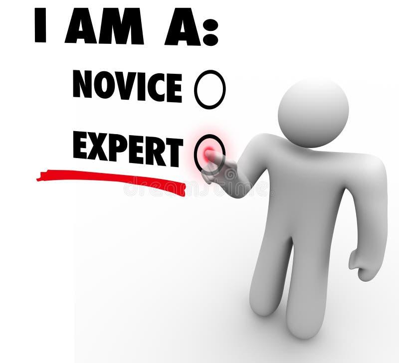 Eu sou um perito escolho o nível de habilidade da experiência da experiência ilustração stock