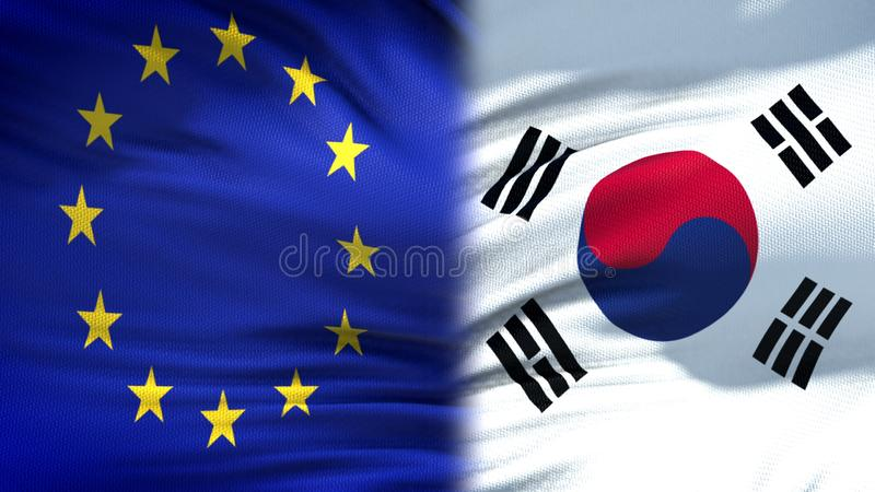 EU and South Korea flags background, diplomatic and economic relations, finance. Stock photo stock photography