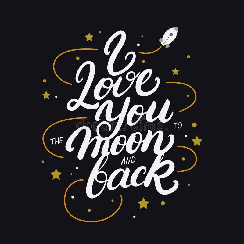 Eu te amo à lua e à mão traseira escritas rotulando o cartaz ilustração royalty free