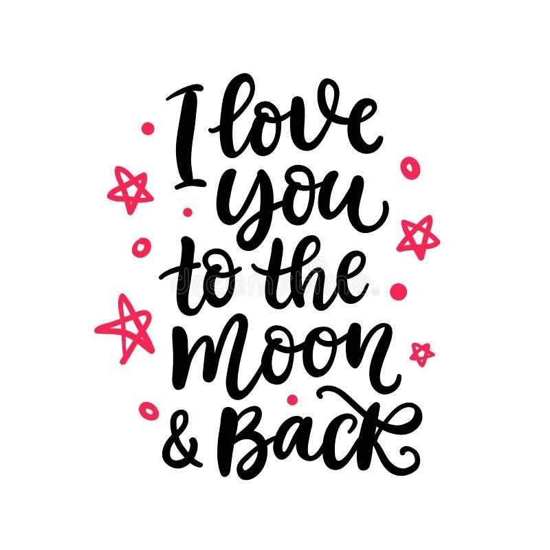 Eu te amo à lua e à parte traseira Rotulação escrita mão ilustração do vetor