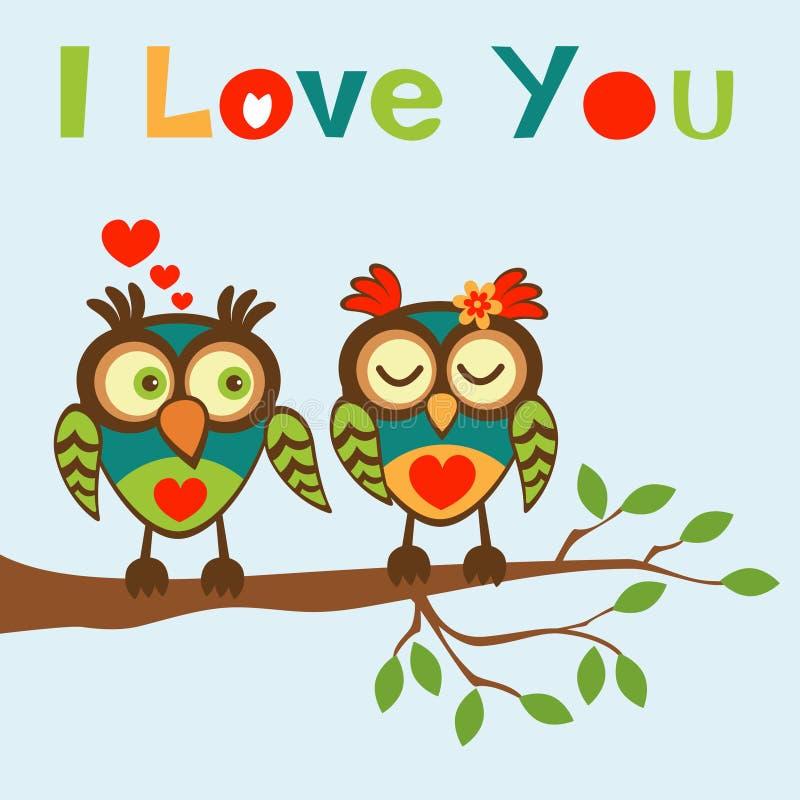 Eu te amo cartão com duas corujas ilustração royalty free