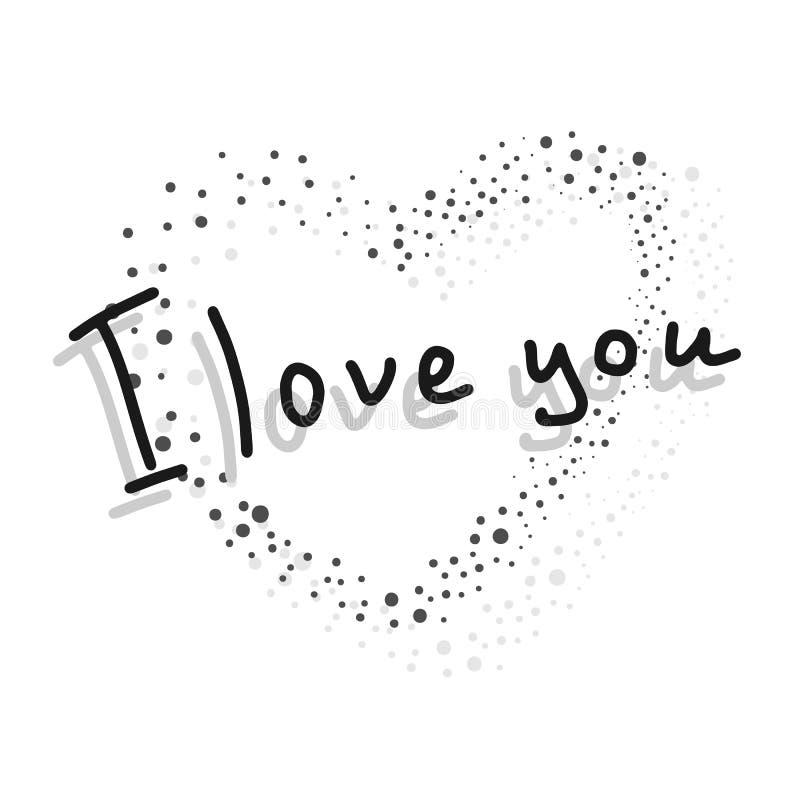 Eu te amo cartão do vetor com uma silhueta do coração e da inscrição ilustração royalty free